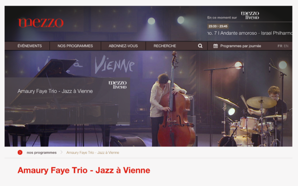 Amaury Faye Trio at Jazz à Vienne broadcasted on Mezzo TV during April